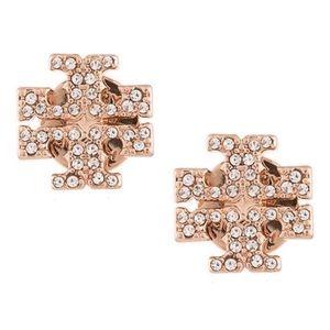 TORY BURCH • Rose Gold Crystal Logo Earrings